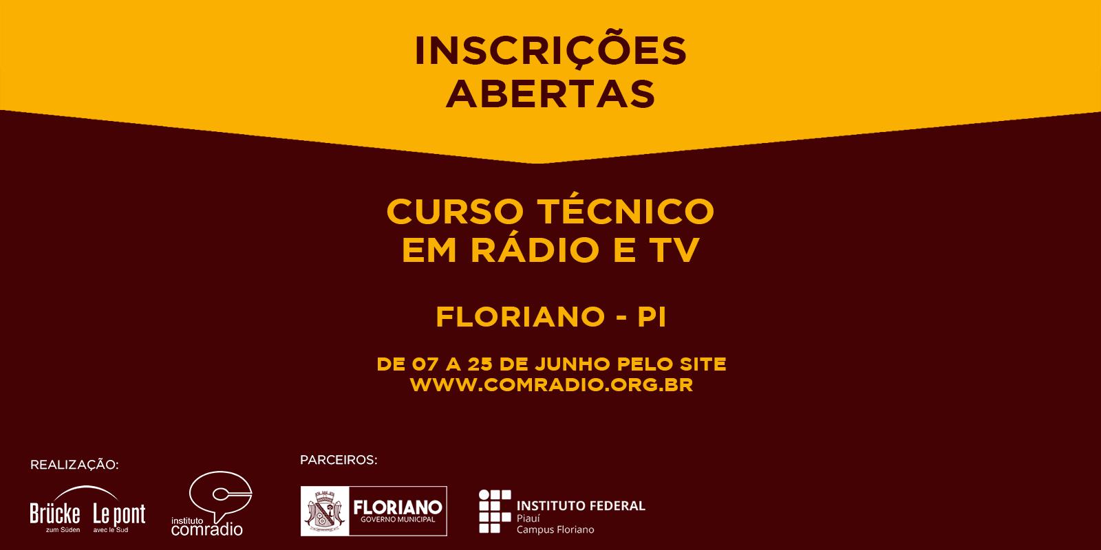 Instituto Comradio do Brasil está com inscrições abertas para o Curso Técnico de Rádio e TV em Floriano -PI
